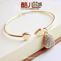 E5037 queer accessories women's brief full rhinestone heart cutout carved bracelet (KE)