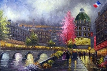 Paris At Night River Seine Bridge Shops Spring Flowers Trees  Oil Painting