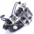 Top Quality Wholesale&Retail Roman Cross Personality Bracelet Man Leather Bracelets R100