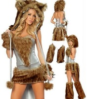 Womens Sexy Luxury Brown Fur Wolf Design Costumes Halloween Free Shipping