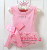 Free shipping 3pcs/lot 2012 summer pink lace decoration trigonometric romper baby romper