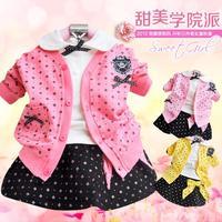 2012 autumn 100% cotton children's clothing female child fashion preppy style skirt set piece set clothes