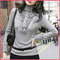 FREE SHIPPING! Retail and Wholesale! 2014 spring long-sleeve lace turtleneck medium-long basic shirt sweater women's
