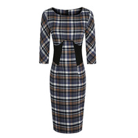 Autumn one-piece dress fashion plaid preppy style slim youoccasionally patchwork 7 slim thin woolen one-piece dress
