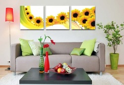 High quality !! Triptych Elegant easy handle DIY Sunflower Cross Stitch + 1 set Free Shipping(China (Mainland))