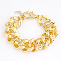 [Mix 15USD] European Shiny Cut Light Gold Plated Chunky CCB Curb Chain bracelet