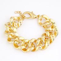 [Mix 15USD] European Shiny Cut Light Gold Plated Chunky CCB Curb Chain bracelet