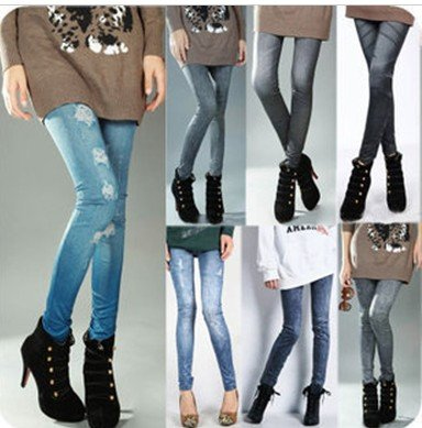 free shipping, printing faux denim jeans looks women's ladies' skinny leggings pencil pants slim elastic stretchy tights(China (Mainland))