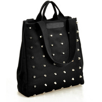 2013 autumn women's handbag fashion punk rivet bag handbag canvas bag Black Leather Fashion Luxury Woman Shoulder Handbag