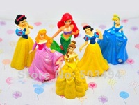 Free shipping High Quality Cute shiny Princess Ariel Cinderella Snow white Belle Aurora Cartoon Figure Toy Set of 6 pcs