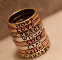 Free Shipping 36pcs/lot Vintage bronze plated wishing ring with letters free shipping,letter ring.8different letters.