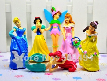 Princesses Figures Set of 6 Snow White Ariel Tinkerbell Cinderella Belle Aurora Princess