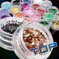 24 pcs Colorful Nail Art Glitter Powder Decoration Slice Spangles