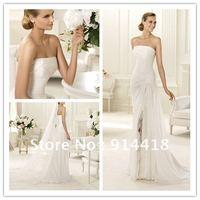 A line White Strapless Sweep Train Sleeveless Pleated Chiffon Wedding Dress