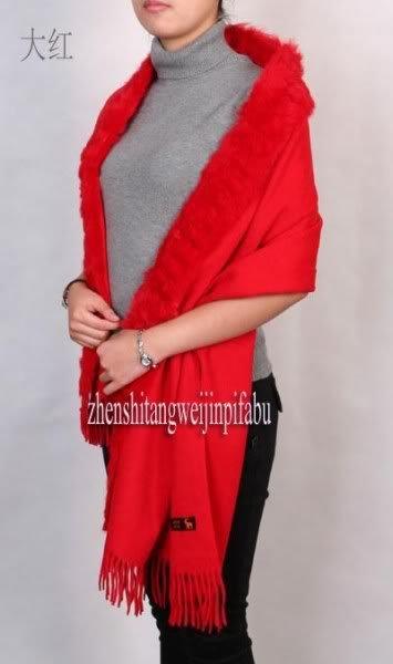 Fashion Winter Red Chinese Women's 100% Wool Cashmere Rabbit Fur Shawl Scarf Thick Warm Wrap SC-004 Free Shipping(China (Mainland))