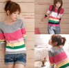 Free shipping  Fashion O-Neck knitted sweater women pullover long sleeve stripe sweaters