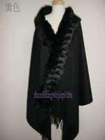 New Black Winter Shawl Chinese Women's 100% Wool Cashmere Rabbit Fur Scarf Thick Warm Wrap SC-09