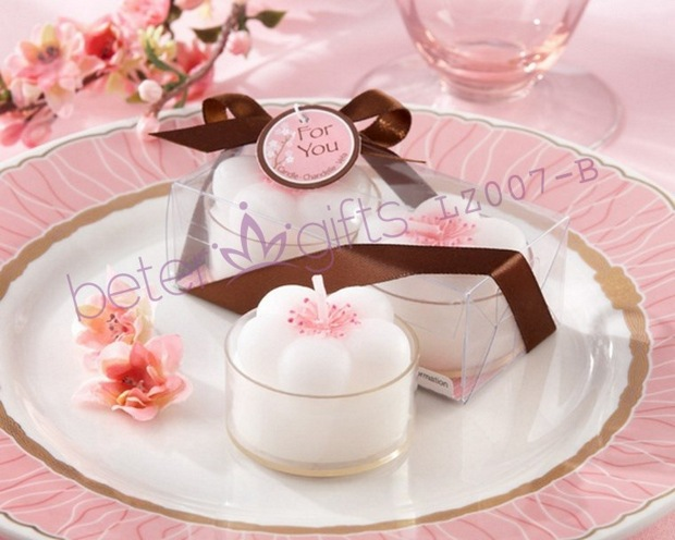 "Wedding Decoration wholesale ""Cherry Blossoms"" Flower Tea Lights LZ007/B used as wedding favors and gifts(China (Mainland))"