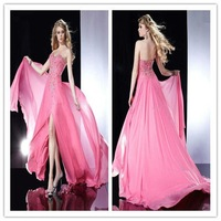 Free Shipping 2012 Hot sale Sexy A-Line Sweetheart Off Shoulder with Beads Chiffon Prom Dress pd28