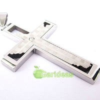 Free shipping +Wholesale All Silver Stainless Steel Check Cross Chain Pendant Necklace  New Cool Gift Item ID:3937