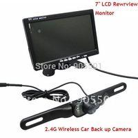 "2.4G Wireless Night vision IR Car Rearview Camera reversing Kits + 7"" LCD Rearview Monitor Free shipping"