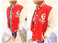 2012 Autunm Korean Women A Letter Varsity Jacket Mandarine Baseball Coat  Blue,Red Sportwear Cardigan