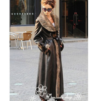 2014 new winter Luxury fashion Europr style ladies large lapel one piece long faux fur overcoat outerwear 5XL plus size P1