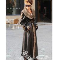 2014 new winter Luxury fashion Europr style ladies large lapel one piece long faux fur overcoat outerwear 5XL plus size P1