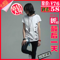 Male short-sleeve slim t-shirt fashion personality hypotenuse hole color block decoration long design men's clothing short t