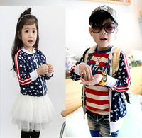 Free shipping+4pcs/lot whloesale children spring autumn American flag jacket/boys and girls coat/size 100 to 130