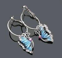 Free Shipping Gift Bags Wholsales 18KGP Crystal Rhinestones Blue Glaze Butterfly pendant Stud earrings clip fashion Jewelry B124