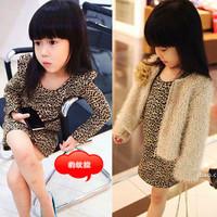 Free/drop shipping 2012 autumn baby cute girls leopard dress,Girls Classic Leopard Print Cotton Long Sleeve One-Piece Dresses
