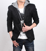 New arrival with a hood suit hooded suit blazer outerwear male blazer