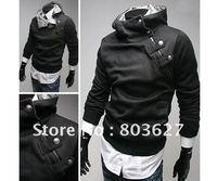 HOT Sell Mens Slim Sexy  JACKET hoodie rabbit fur collar diagonal zipper BLACK