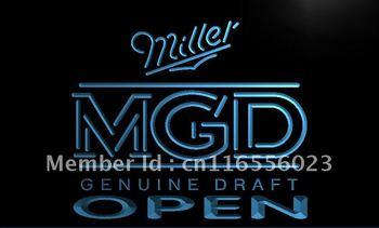 LA056- Miller MGD Beer OPEN Bar Neon Light Sign     home decor shop crafts led sign
