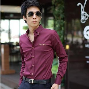 HOT  FREE SHIPING 2012 autumn men's clothing embroidered logo casual male shirt 1409009 p50
