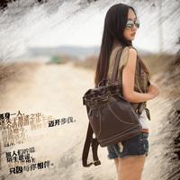 handmade genuine leather backpack travel backpack female bags free shipping 80339