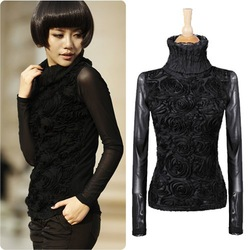 Hot Sale Womens Clothes Fashion 2013 Black 3D Flowers Turtleneck Long-Sleeve Blouse Shirts Free Shipping N3020(China (Mainland))