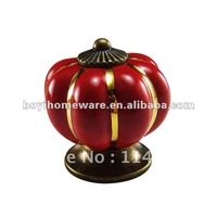 new cabinet red ceramic door Pumpkin shape kitchen Christmas style drawer handle and knob NG R88-AB