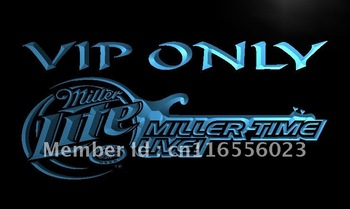 LA408-TM Miller Time Live VIP Only Beer Neon Light Sign Advertising