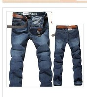 2012 autumn men's clothing straight slim fashion  blue men's casual denim long trousers