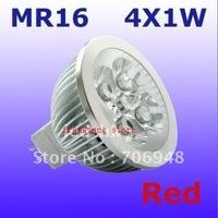 Free Shipping MR16 Blue/Green/Red/Yellow/White 4w LED Spot Light Bulb Lamp 4X1W 60 Degree 4 Watt Good Quality