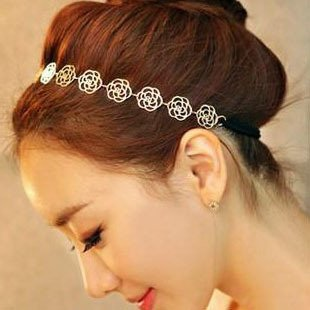 Min.order is $15 (mix order)2014 Noble hollow rose headbands for women,Free shipping,elegant gold plated hairwear,hot sale