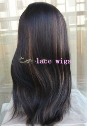 Affordable 100% Human Hair Lace Front Wigs - New Fashion Style Indian Remy - Yaki Straight - Wholesales 1b/30# african american(China (Mainland))