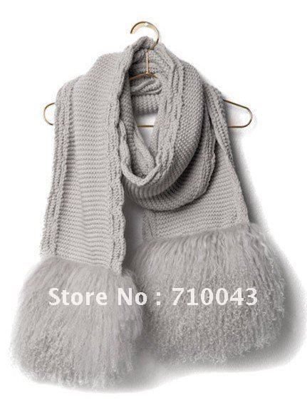 STL02#free shipping 1pcs fashion wool /fleece knitted tassel pink/grey scarf(China (Mainland))
