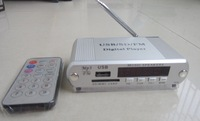 Free shipping Mini MP3 USB SD Digital Player FM Radio Remote Control LED Display Headphone out