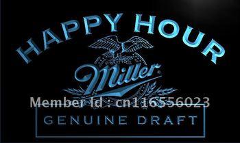 LA613- Miller Beer Happy Hour Bar Pub Neon Light Sign    hang sign home decor shop crafts led sign