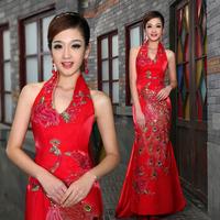Royal bride cheongsam red marry evening dress formal dress cheongsam long design bridal wear Chinese formal dress Free shipping