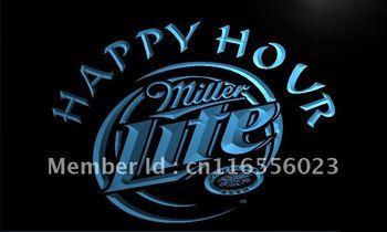 LA605- Miller Lite Happy Hour Beer Bar Neon Light Sign    hang sign home decor shop crafts led sign