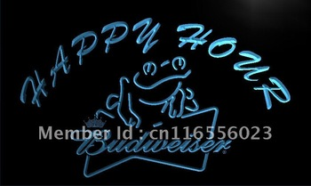 LA610- Budweiser Frog Beer Happy Hour Neon Light Sign    hang sign home decor shop crafts led sign